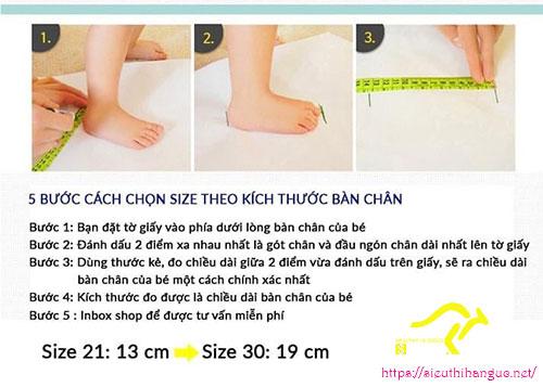 cách đo chiều dài bàn chân bé