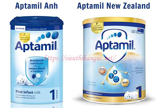 sữa Aptamil New Zealand và Aptamil Anh